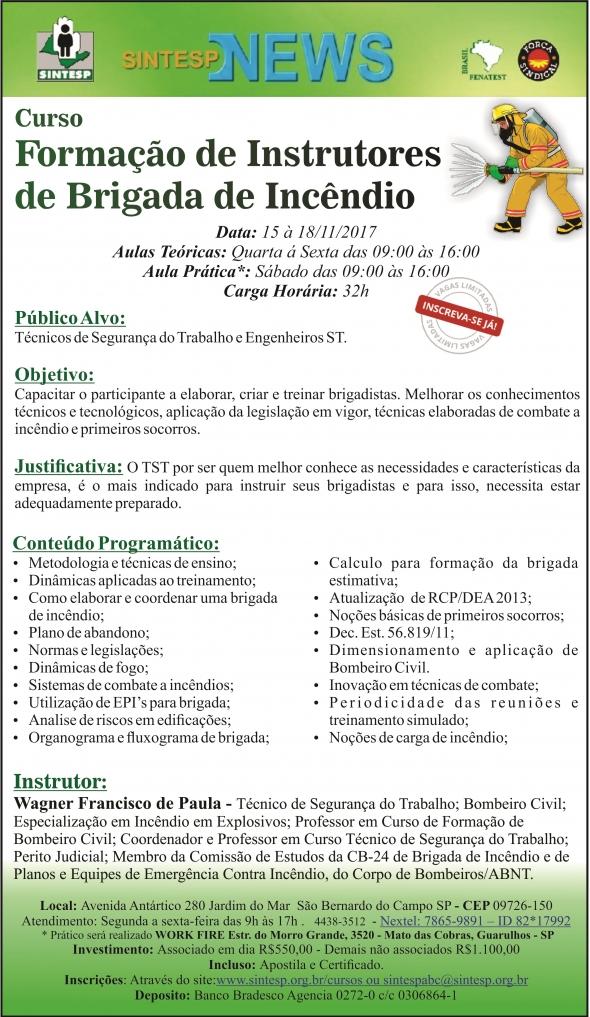 Curso: Formação de Instrutor de Brigada de Incêndio - Regional ABCDMRP