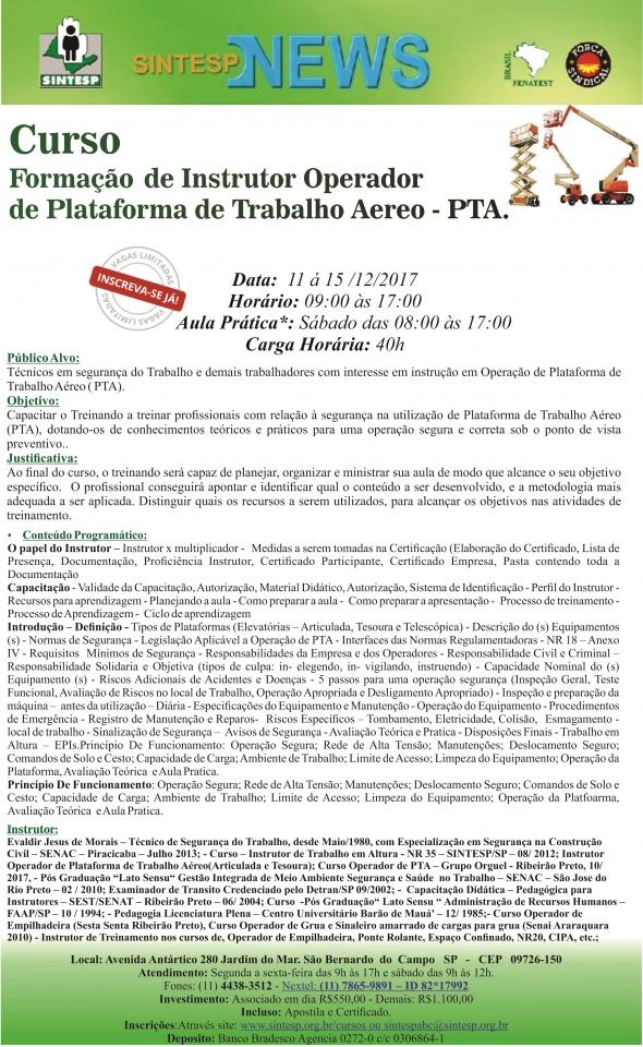 Curso: Formação de Instrutor Operador de Plataforma de Trabalho Aéreo - PTA - Regional ABCDMRP