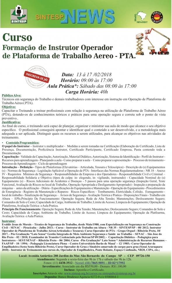 Curso:Formação de Instrutor Operador de Plataforma de Trabalho Aéreo PTA- Regional ABCDMRP