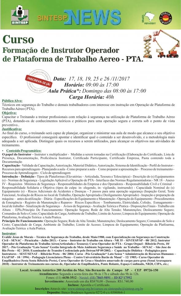 Curso: Formação de Instrutor Operador de Plataforma de Trabalho Aéreo PTA- Regional ABCDMRP