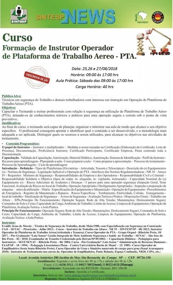 CURSO: FORMAÇÃO DE INSTRUTORES OPERADOR DE PLATAFORMA DE TRABALHO AÉREO - PTA - REG. ABCDMRP