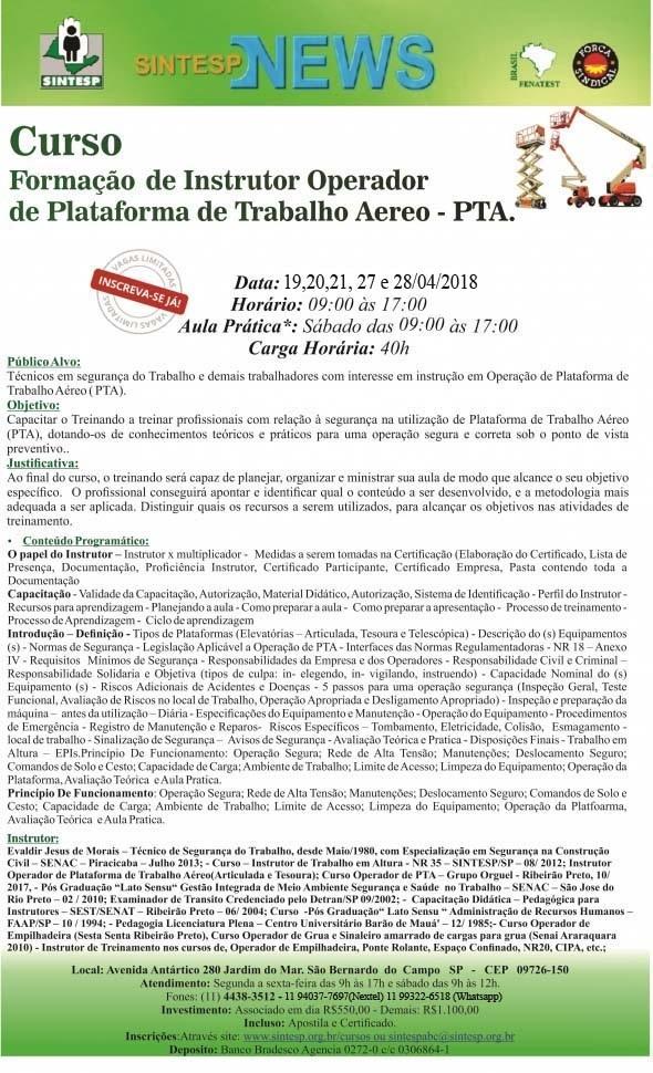 CURSO: FORMAÇÃO DE INSTRUTORES OPERADOR DE PLATAFORMA DE TRABALHO AÉREO - PTA - REGIONAL ABCDMRP