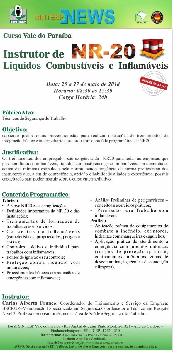 Curso: Instrutor de NR 20: Líquidos Combustíveis e Inflamáveis - Regional Vale do Paraíba