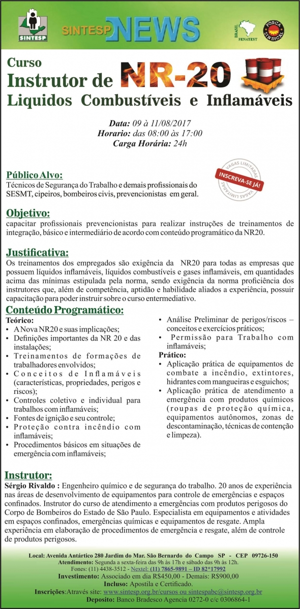 Curso: Instrutor de NR-20 - REG. ABCDMRP
