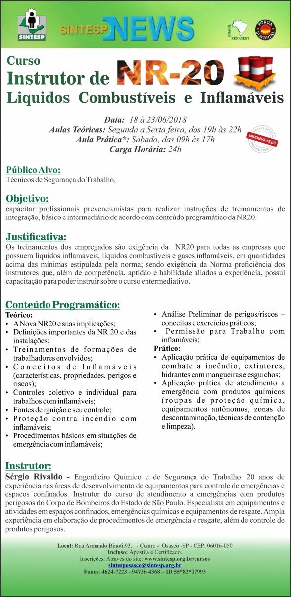 Curso Instrutor de NR20 - Líquidos, Combustíveis e Inflamáveis - REG. OSASCO