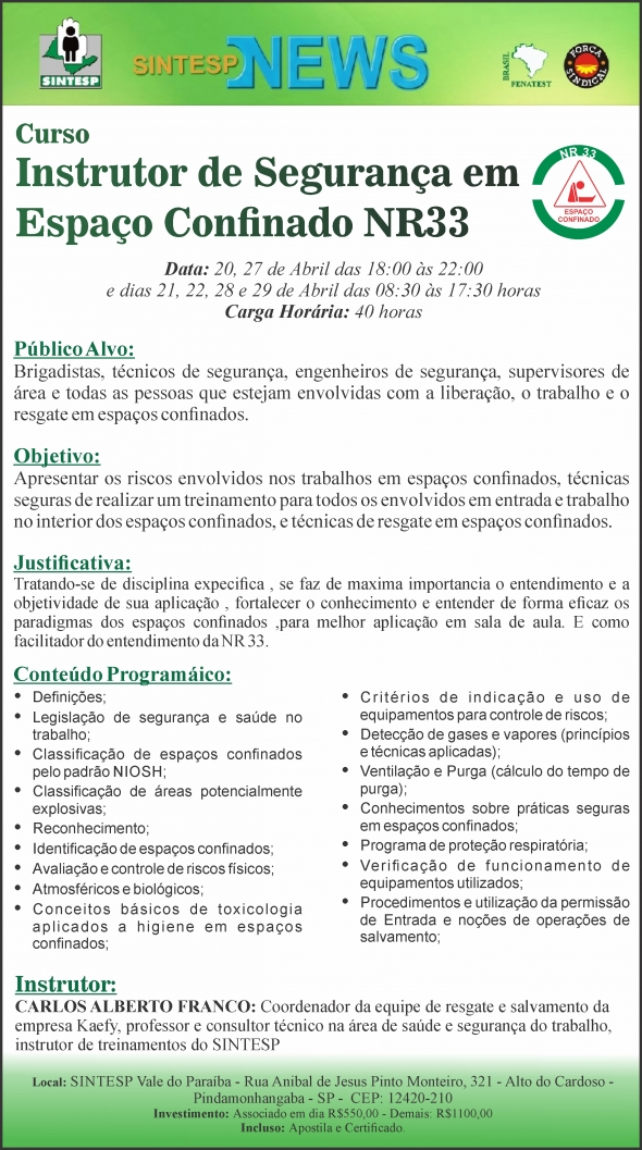 Curso: Instrutor de Segurança em Espaço Confinado NR33 - Regional Vale do Paraíba
