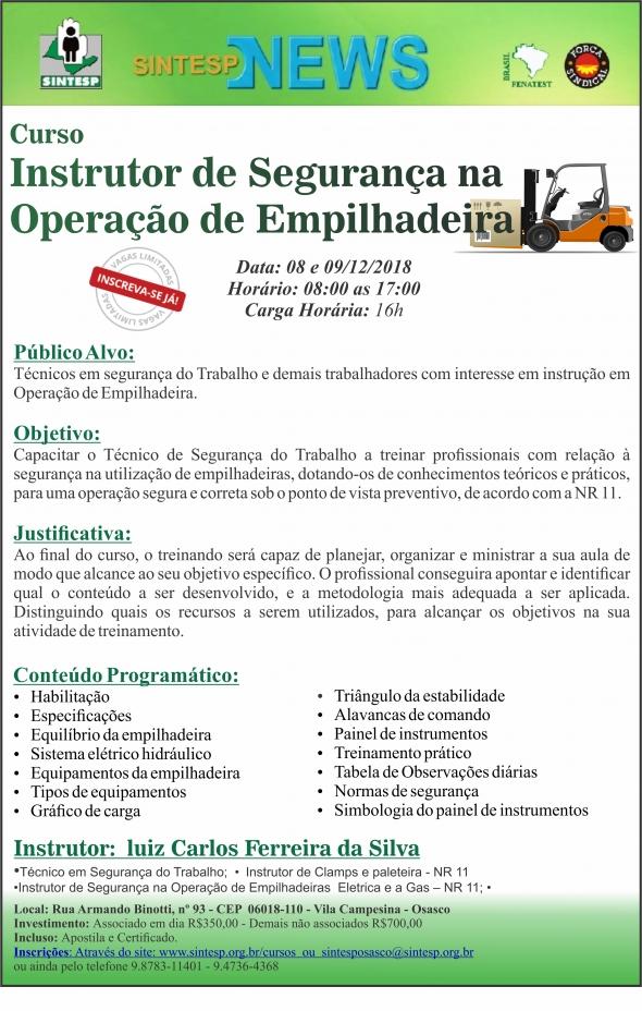 CURSO INSTRUTOR DE SEGURANÇA NA OPERAÇÃO DE EMPILHADEIRA - REG. OSASCO