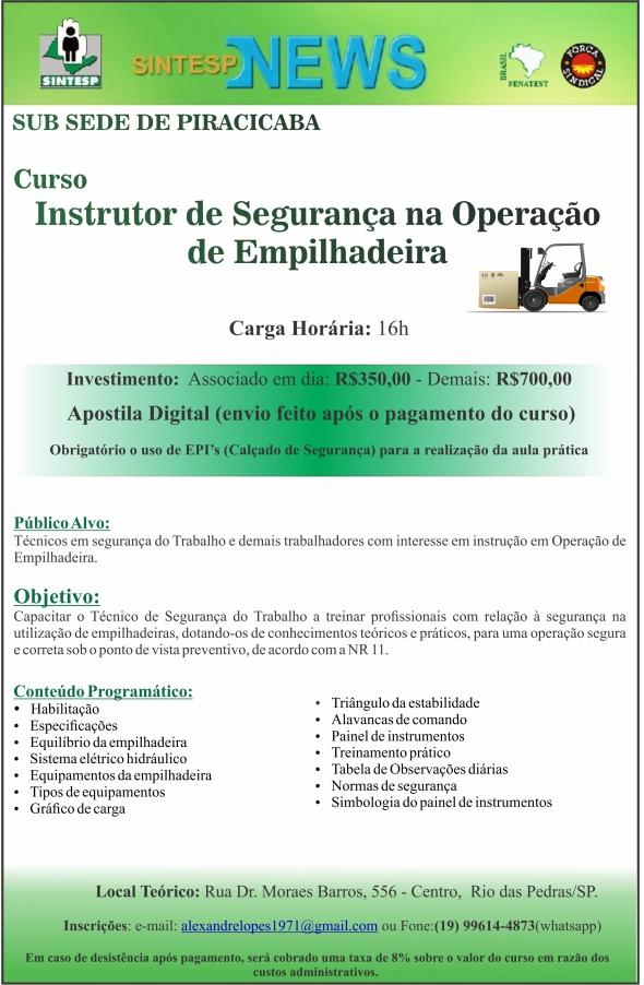 CURSO INSTRUTOR DE SEGURANÇA NA OPERAÇÃO DE EMPILHADEIRA - REG. PIRACICABA