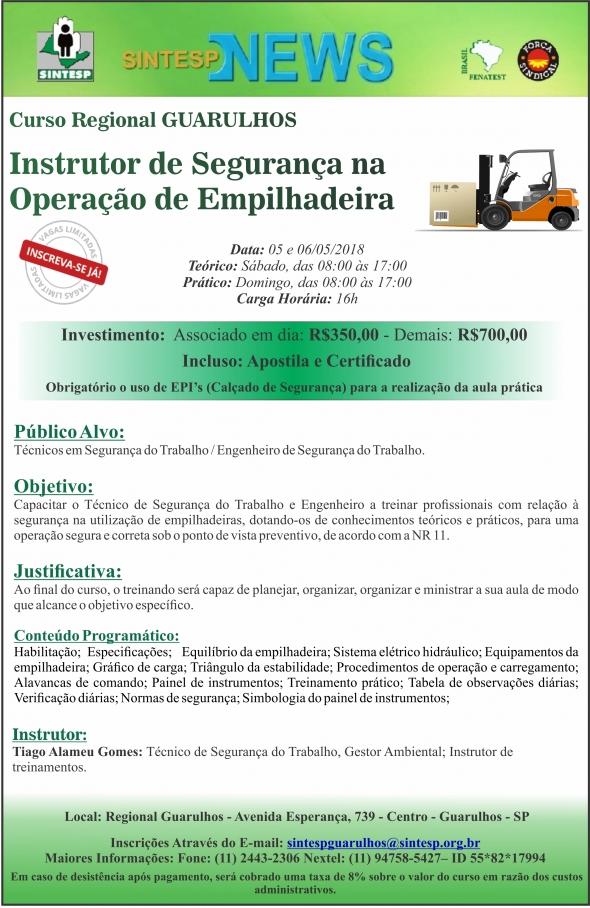 Curso: Instrutor de Segurança na  Operação de Empilhadeira -REGIONAL GUARULHOS