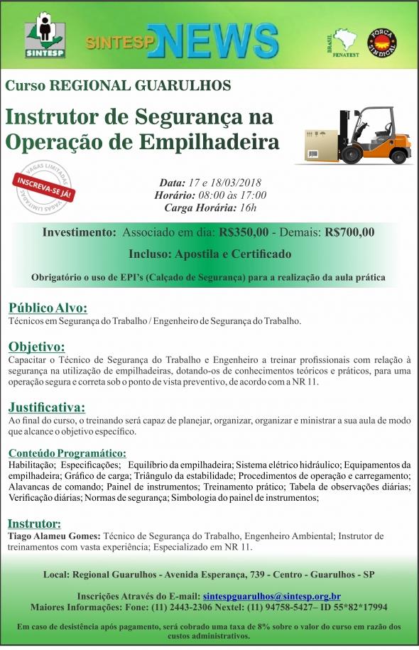 Curso: Instrutor de Segurança na  Operação de Empilhadeira - REGIONAL GUARULHOS