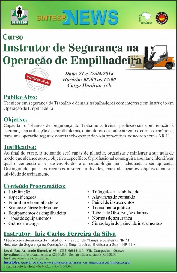 Curso: Instrutor de Segurança na Operação de Empilhadeira - REGIONAL OSASCO