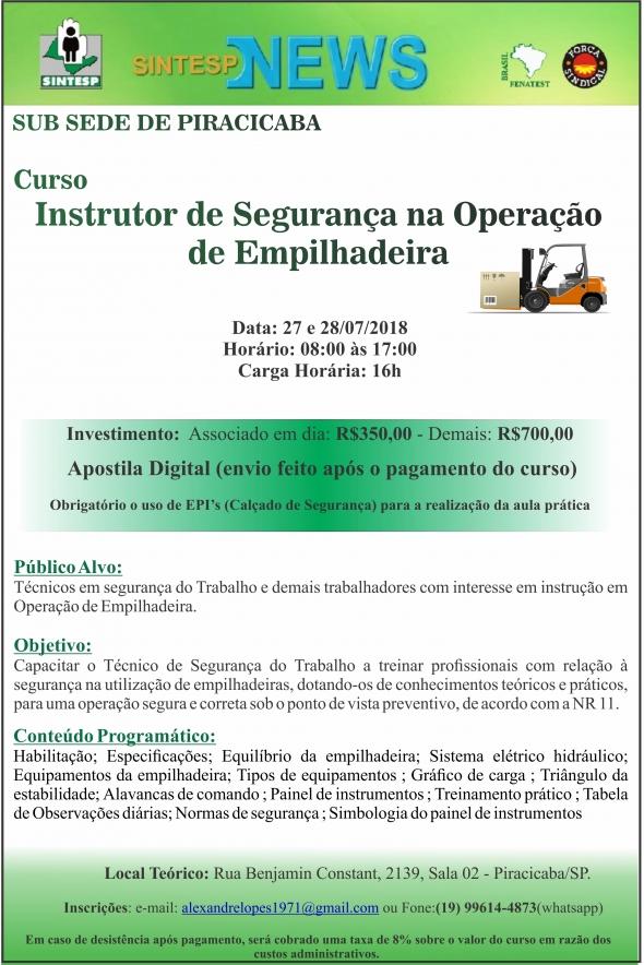 Curso: Instrutor de Segurança na Operação de Empilhadeira - REGIONAL PIRACICABA