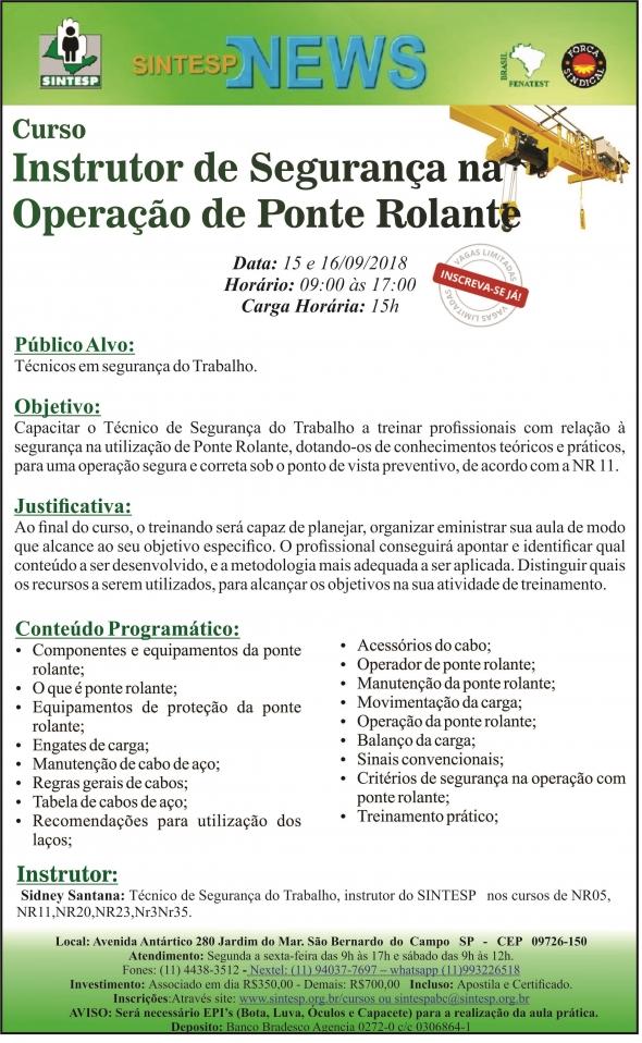 Curso Instrutor de Segurança na Operação de Ponte Rolante - REG. ABCDRMP