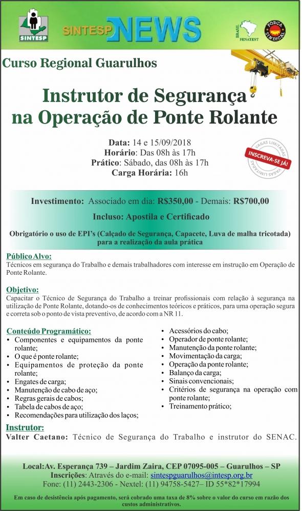 Curso Instrutor de Segurança na Operação de Ponte Rolante - Regional Guarulhos
