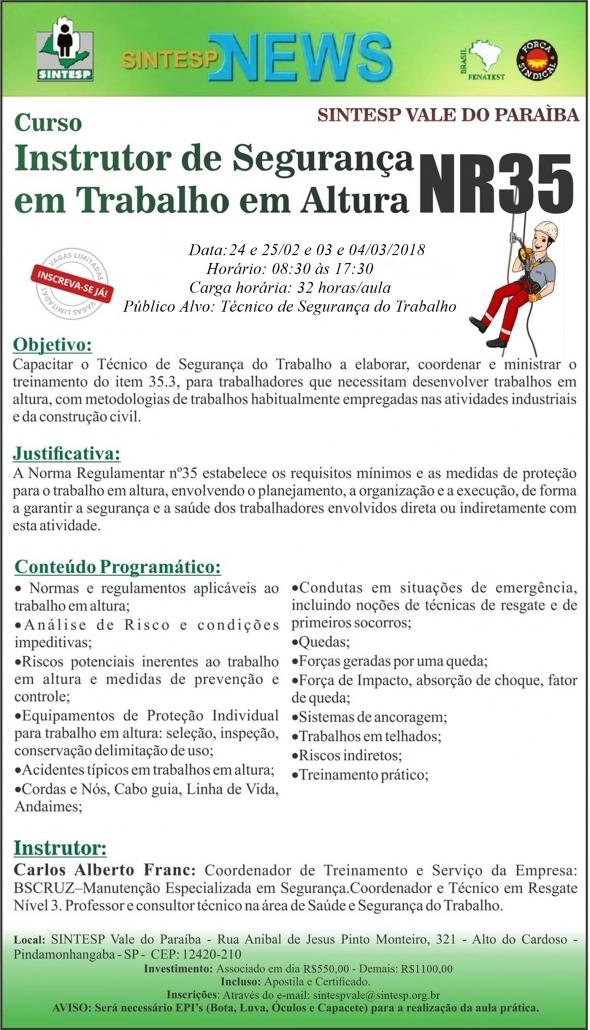 Curso: Instrutor de  Segurança em Trabalho em Altura - NR 35 - Regional Vale do Paraíba