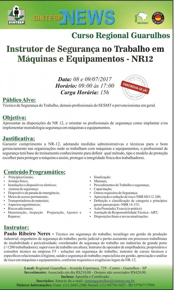 Curso Instrutor de Segurança no Trabalho em Máquinas - NR12 - REG. GUARULHOS