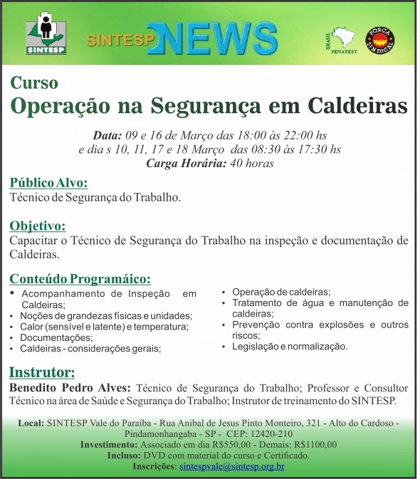 Curso: Operação na Segurança em Caldeiras - Regional Vale do Paraíba