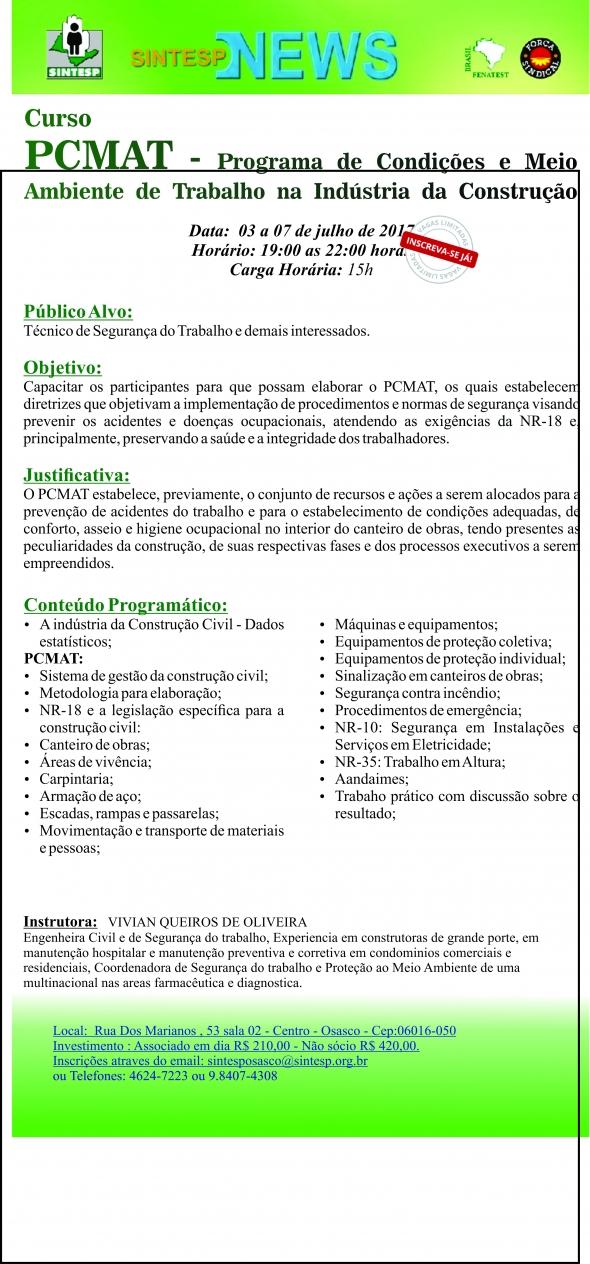 Curso : Programa de Condições e Meio Ambiente de Trabalho na Indústria da Construção -REG. OSASCO