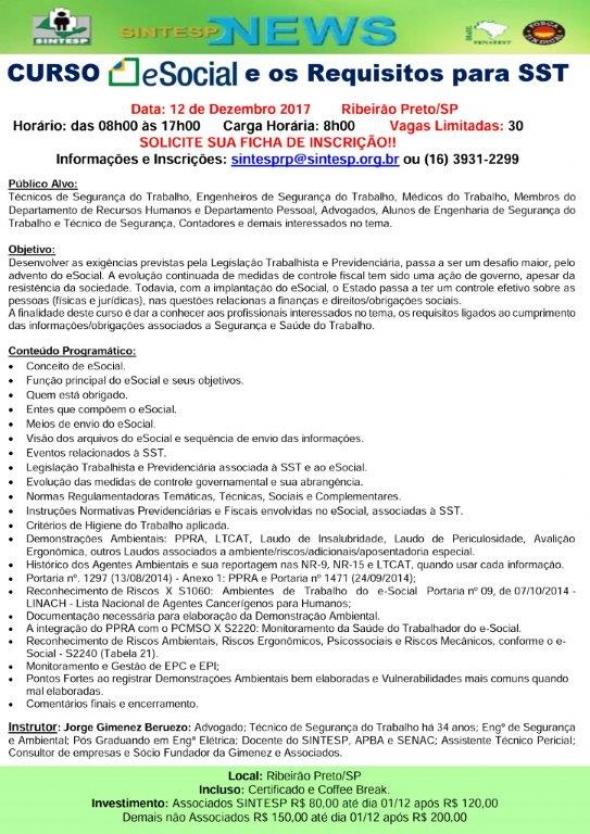 Curso: e-Social e os Requisitos para SST - Regional RIBEIRÃO PRETO