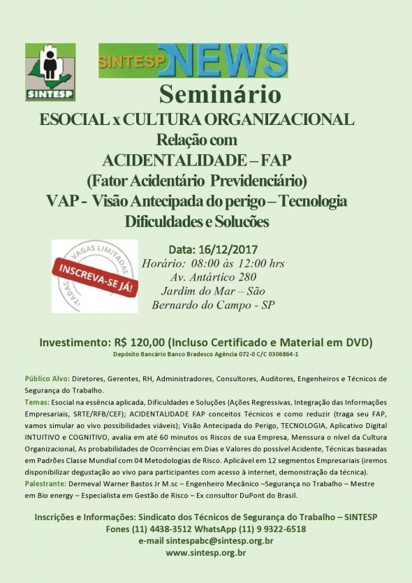 Seminário: eSocial x Cultura Organizacional - Regional ABCDMRP