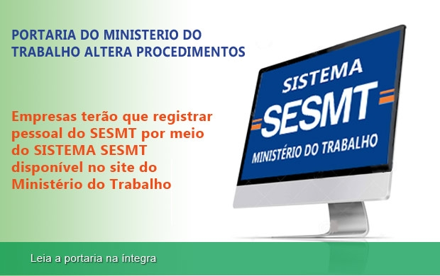 Novas regras para registro do SESMT