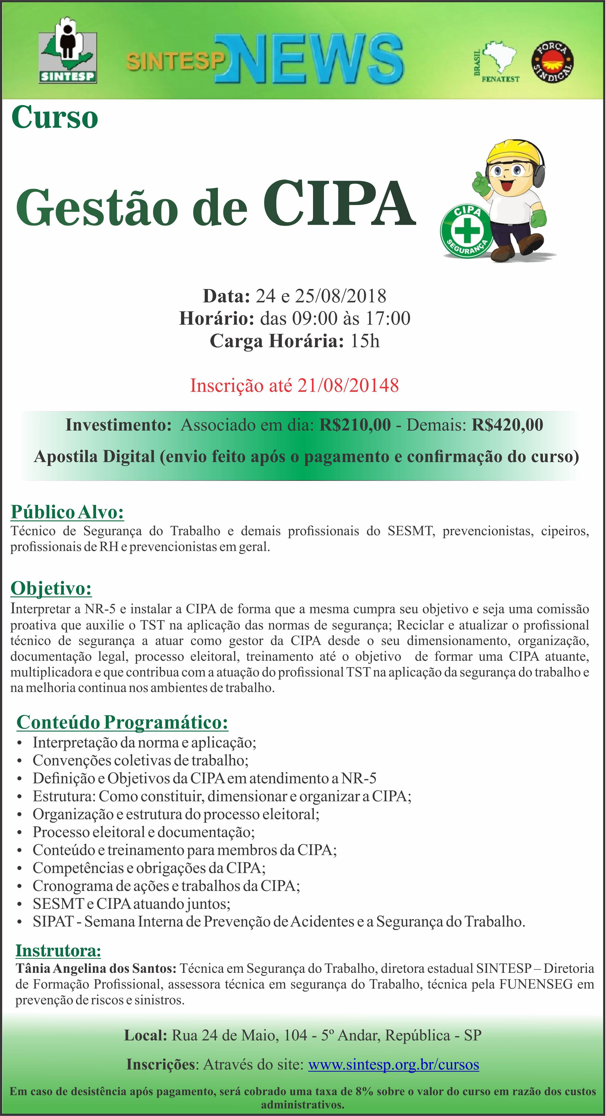 5ac830f60fc02 SINTESP - Cursos e Eventos - GESTÃO DE CIPA