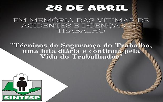Em memória das vítimas de acidentes e doenças do trabalho